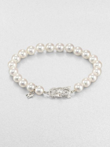 Mikimoto 7mm75mm Round White Cultured Pearl Bracelet In