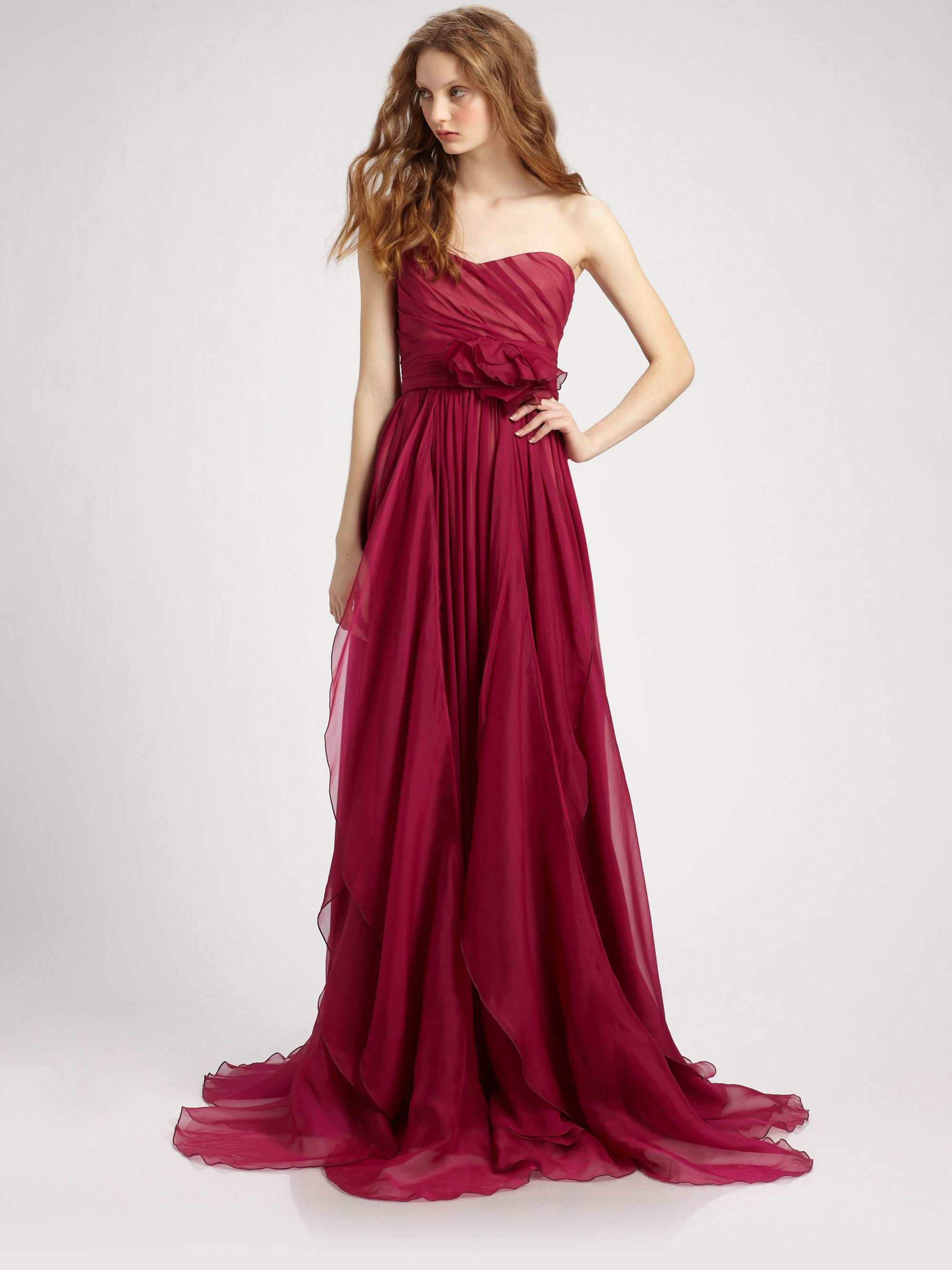 Notte by marchesa Silk Chiffon Strapless Empire Waist Gown in Red ...