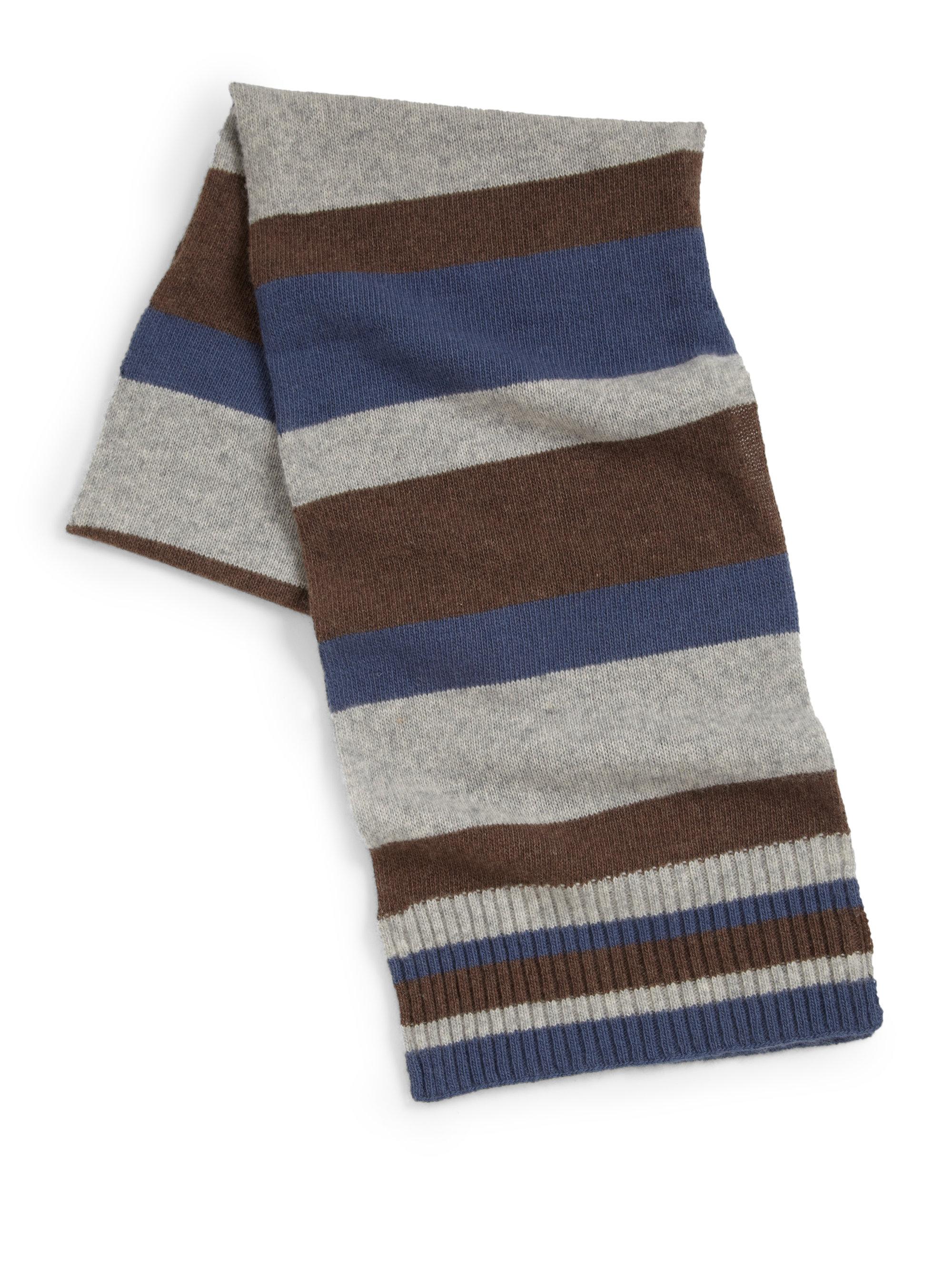 portolano knit striped scarf in blue for
