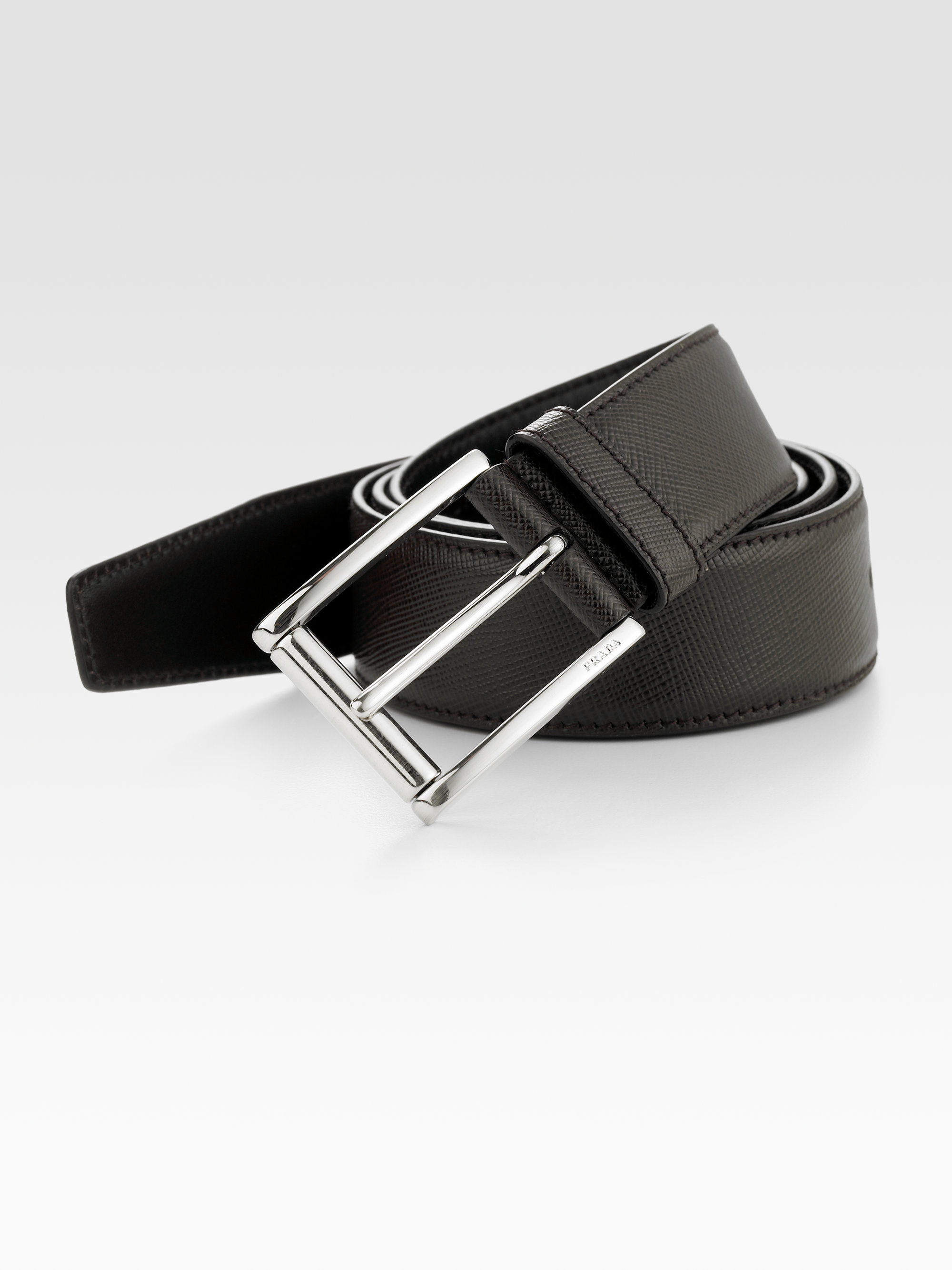 Prada Etched Saffiano Leather Belt In Brown For Men Lyst