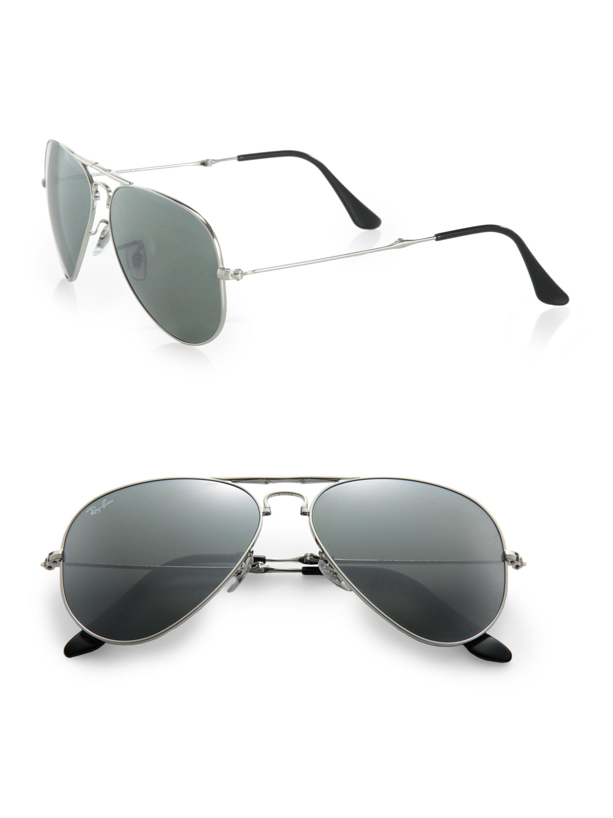 Lyst Ray Ban Folding Aviator Sunglasses In Metallic