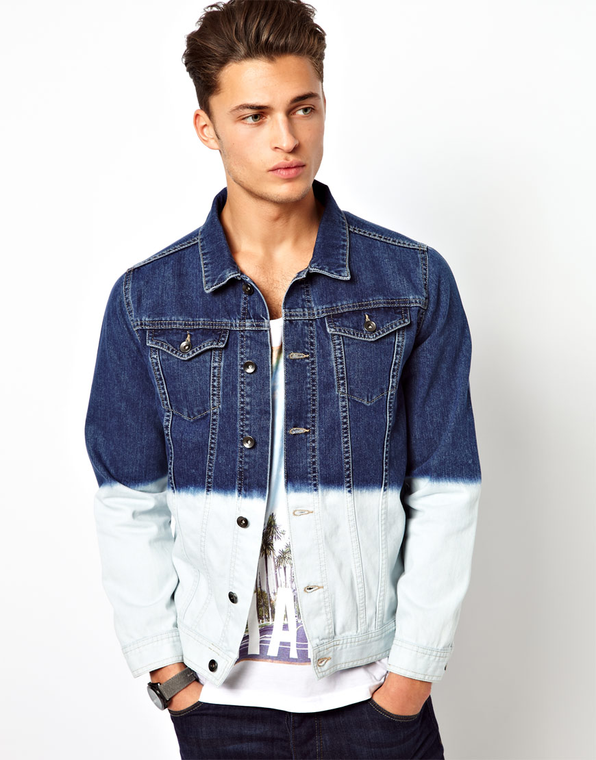 River island denim jacket with dip dye in blue for men lyst for Bear river workwear shirts
