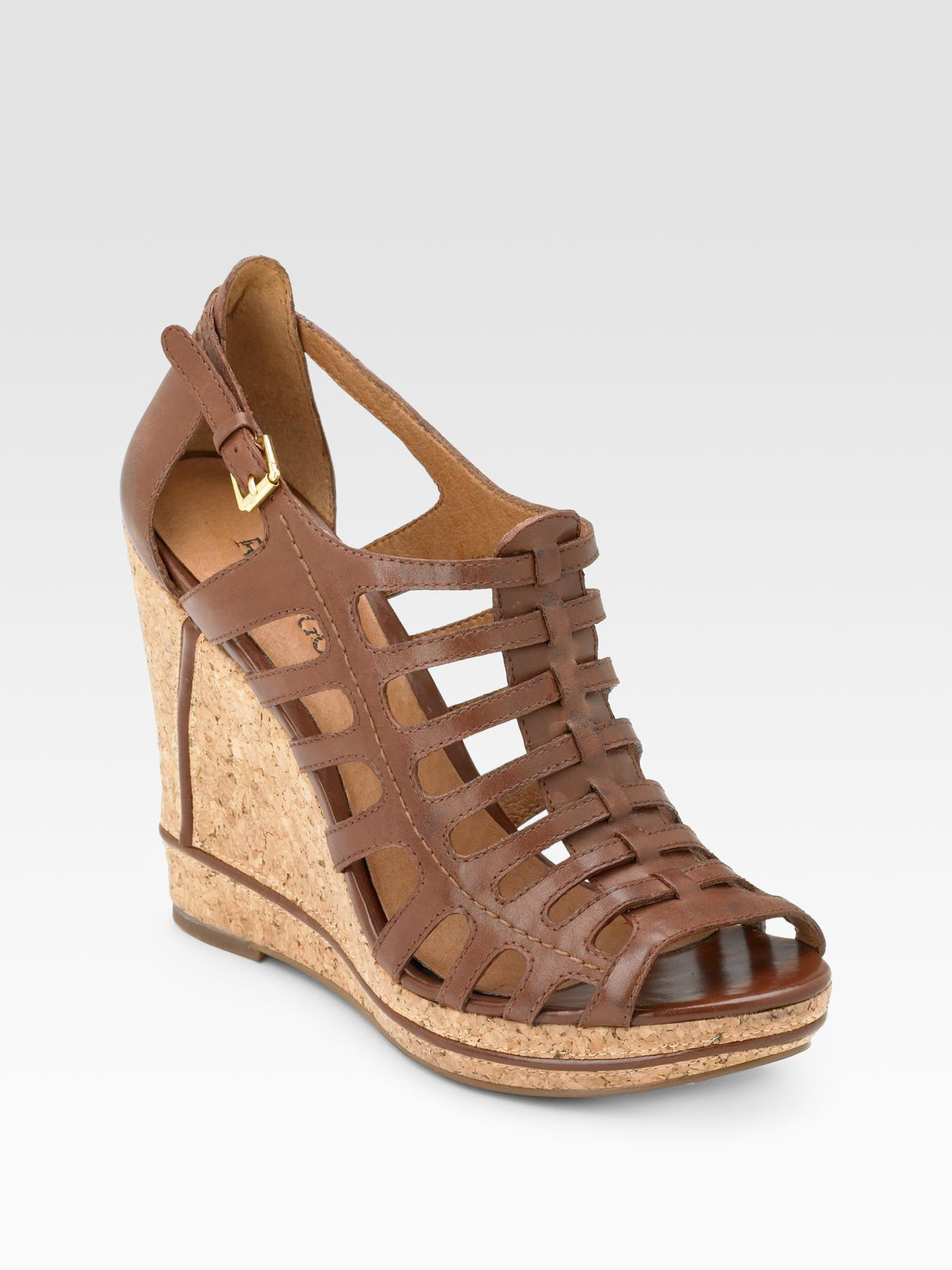 rosegold gladiator cork wedge sandals in brown cognac lyst
