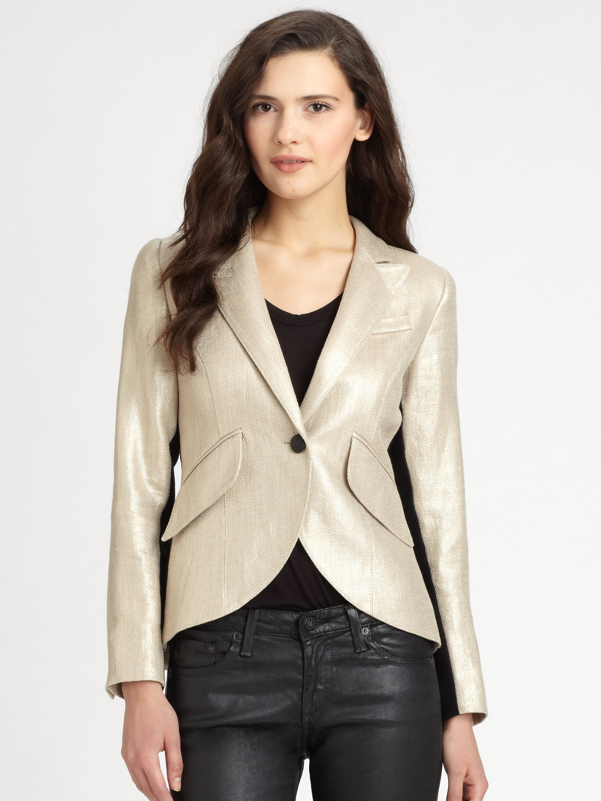 Smythe Tuxedostriped Metallic Blazer In Gold Metallic Lyst