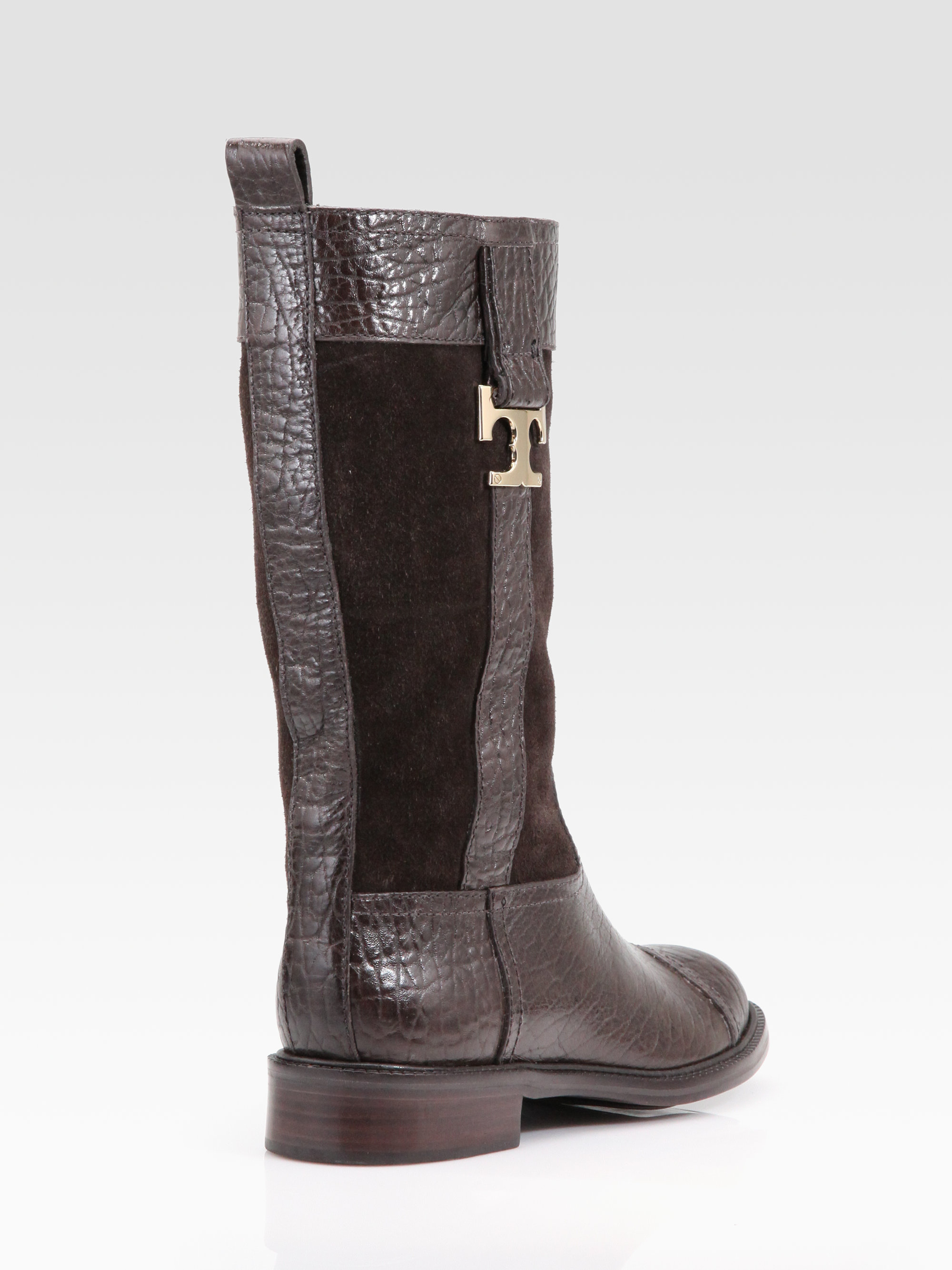 b767d652195ffa Lyst - Tory Burch Corey Leather Suede Midcalf Boots in Brown