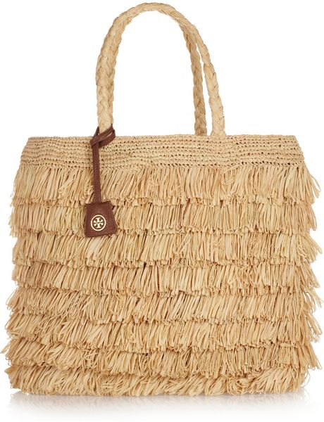 Tory Burch Fringed Raffia Tote in Beige (sand)