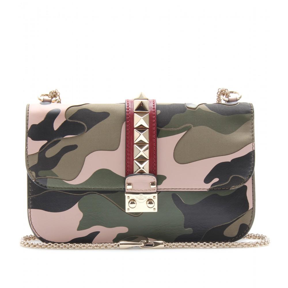 valentino lock medium camouflage leather shoulder bag in green lyst. Black Bedroom Furniture Sets. Home Design Ideas