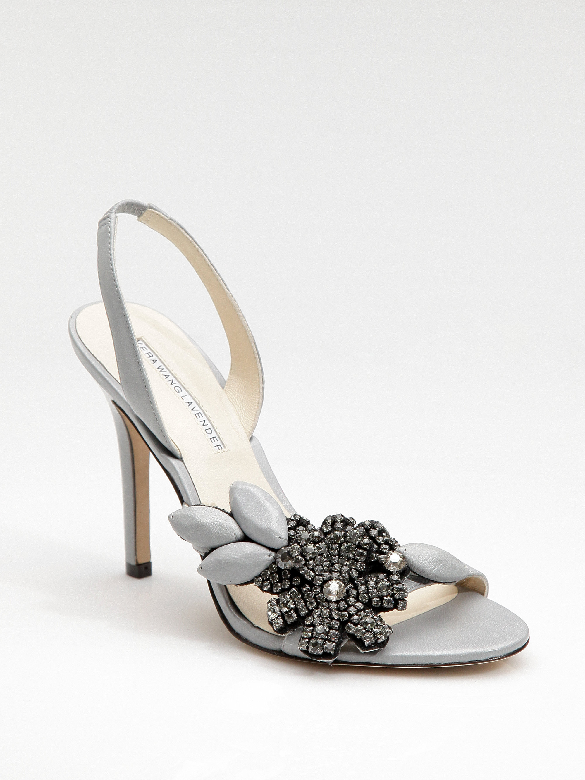 Vera Wang Jewel-Embellished Satin Sandals cheap sale fake clearance extremely IZndk