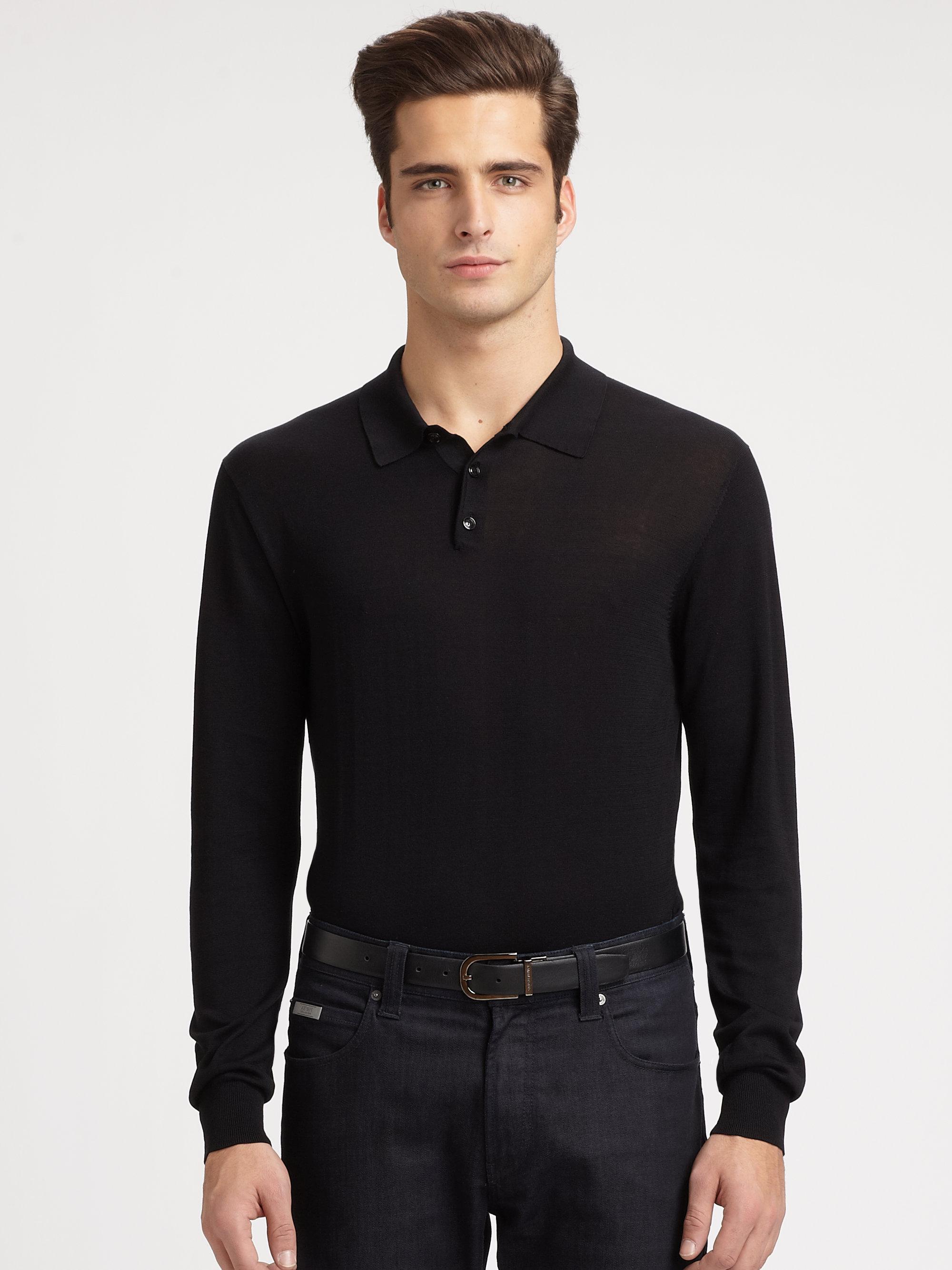 Lyst Armani Silk Cotton Polo In Black For Men