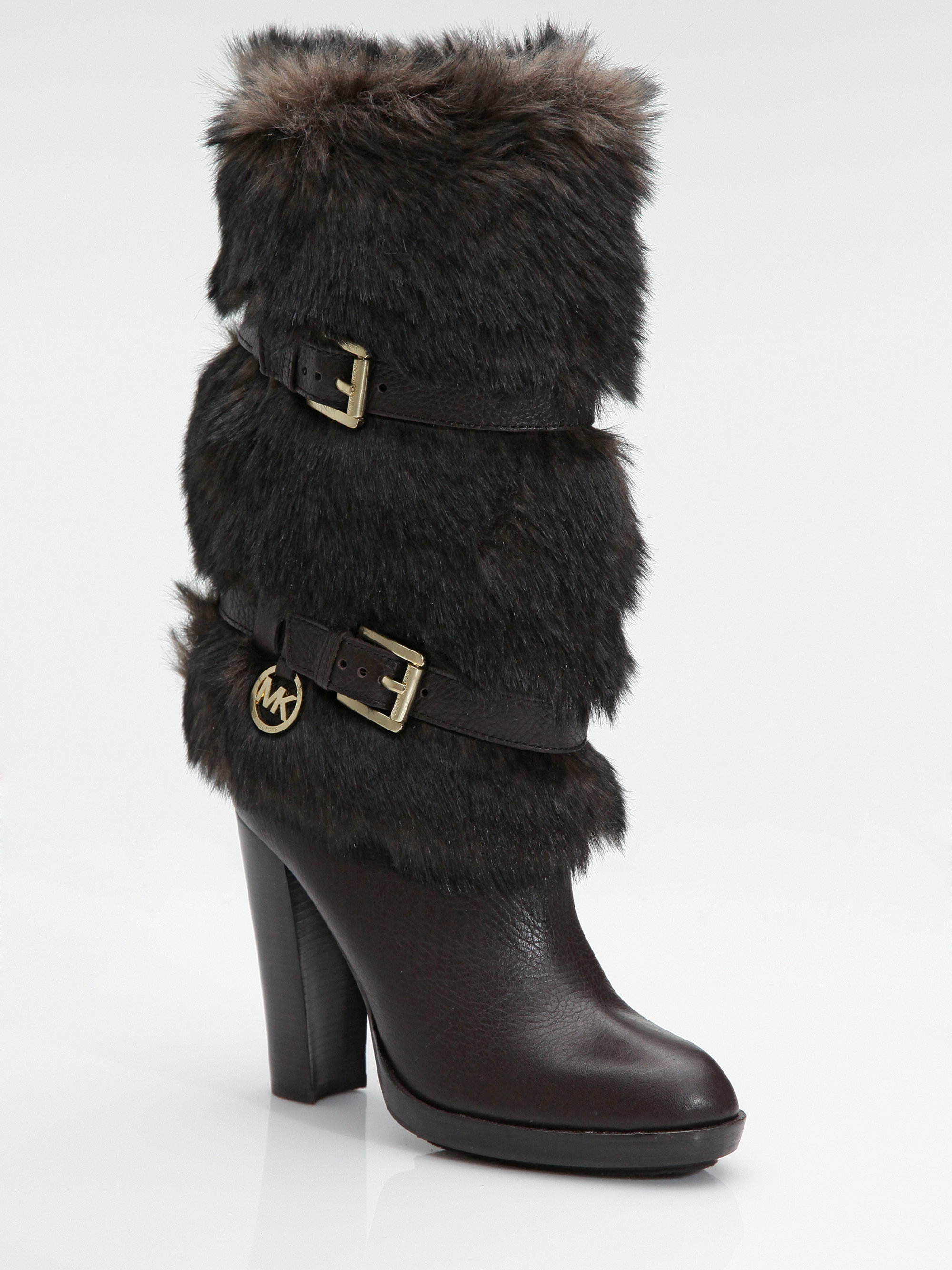 Michael Michael Kors Carly Faux Fur Leather Boots in Brown ...