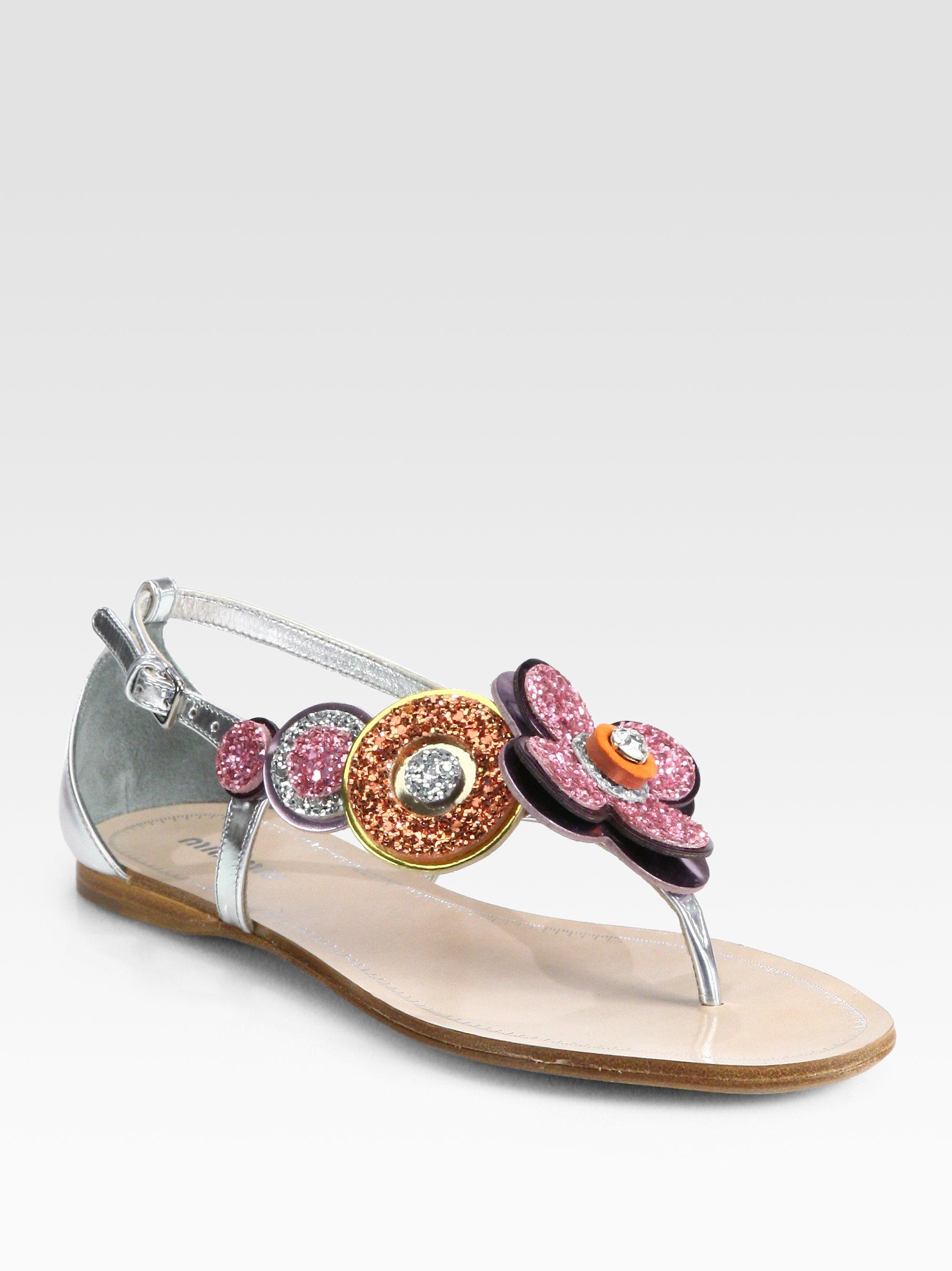 Miu Miu Glitter Jeweled Flower Metallic Leather Sandals In