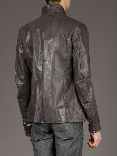Poeme Bohemien Classic Leather Jacket In Gray For Men