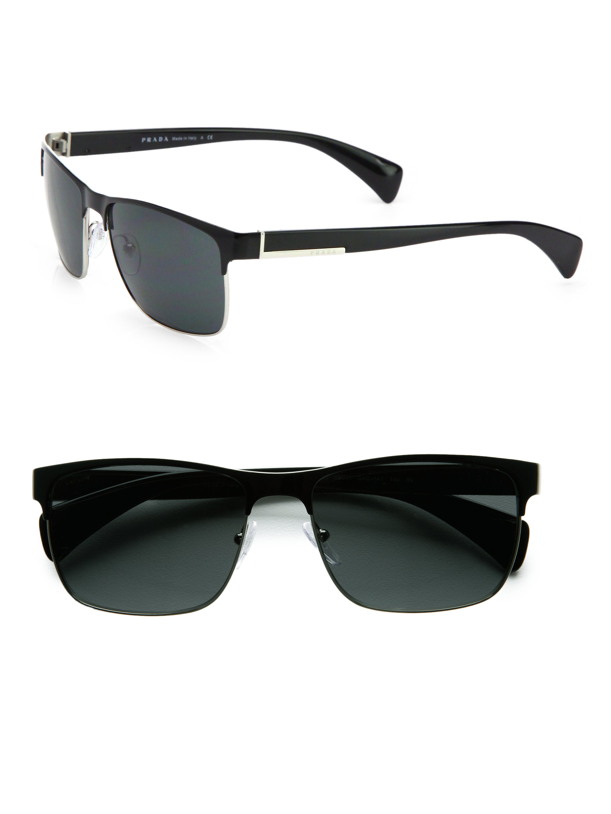 62f25f55a71 Prada Twotone Square Sunglasses in Black for Men - Lyst