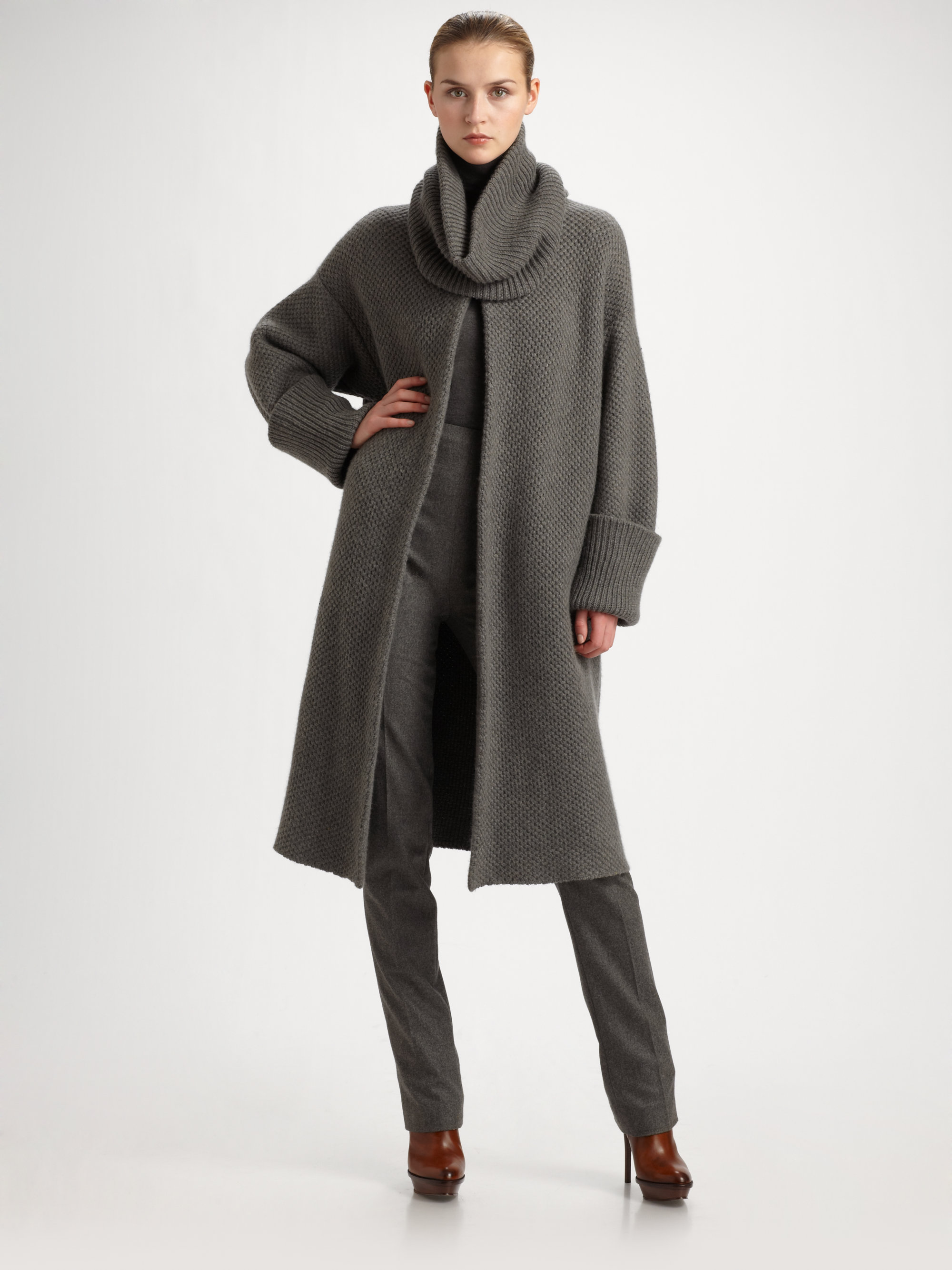 Ralph lauren collection Cashmere Sweater Coat in Gray | Lyst