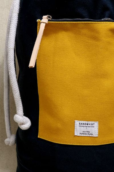 Sandqvist Navy Yellow Osborn Duffle Bag In Blue For Men