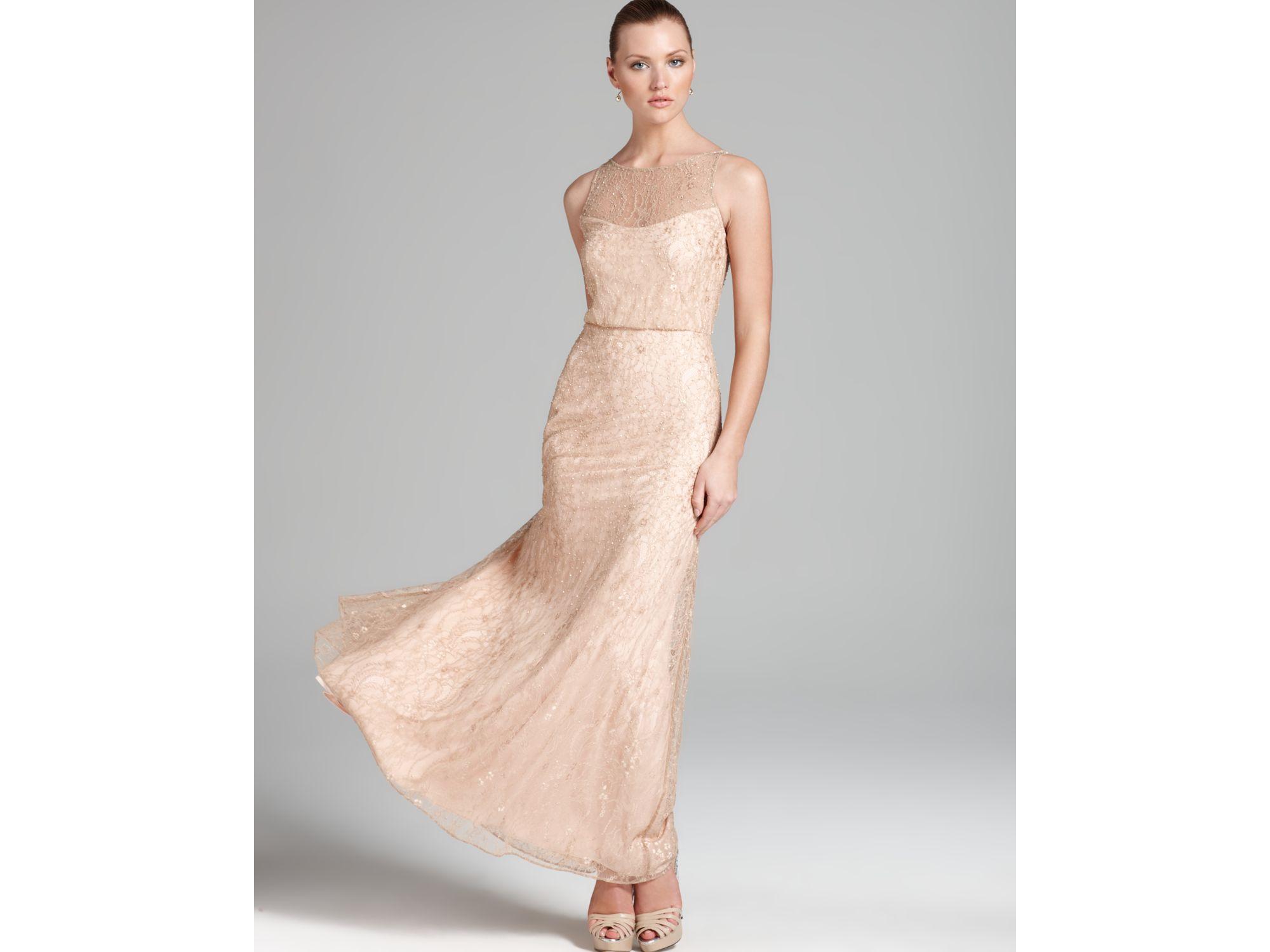 Lyst - Aidan Mattox Blouson Gown Sleeveless Beaded in Pink