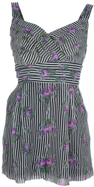 Anna Sui Striped Playsuit - Lyst
