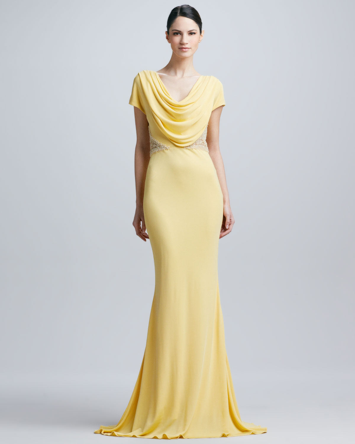 Cowl Neck Back Wedding Dresses: Badgley Mischka Cowl Neck Lace Trim Gown In Yellow