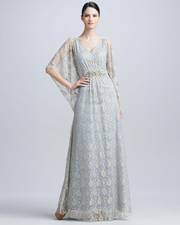 Lyst - Badgley Mischka Lace Beaded waist Caftan Gown in Blue