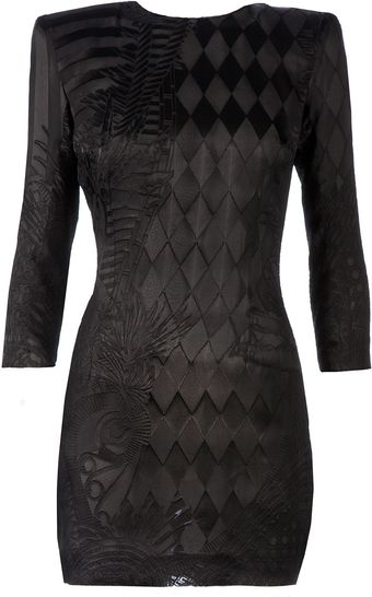 Balmain Embroidered Bodycon Dress - Lyst