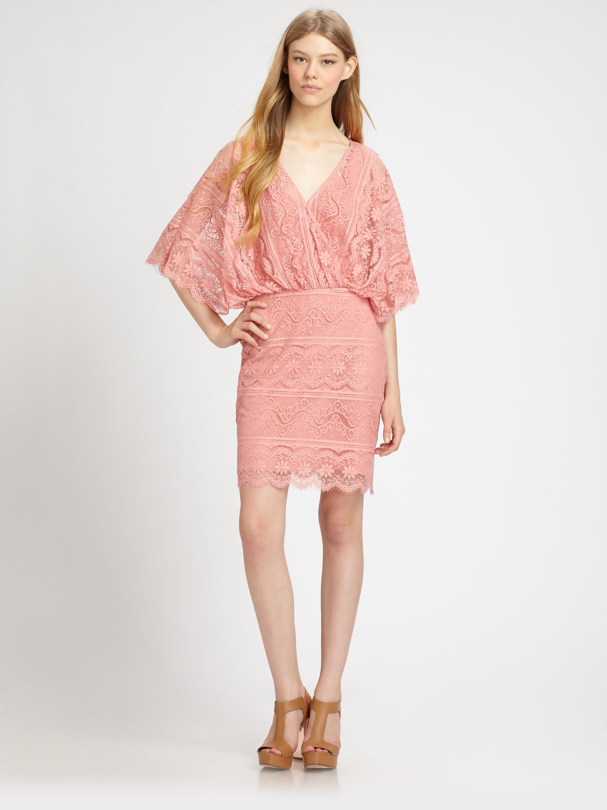 Beyond vintage Bell-sleeve Lace Dress in Pink - Lyst
