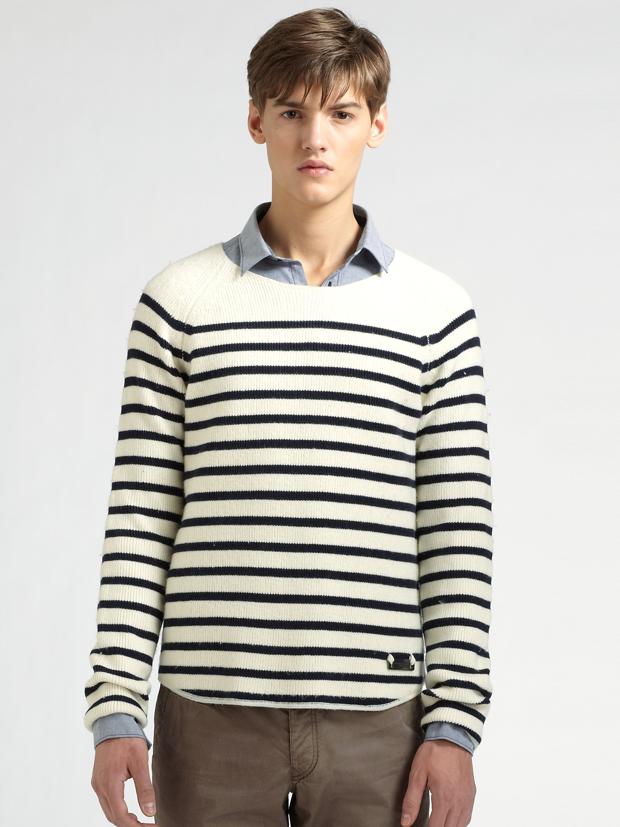 Burberry brit Wool-blend Striped Sweater in Blue for Men | Lyst
