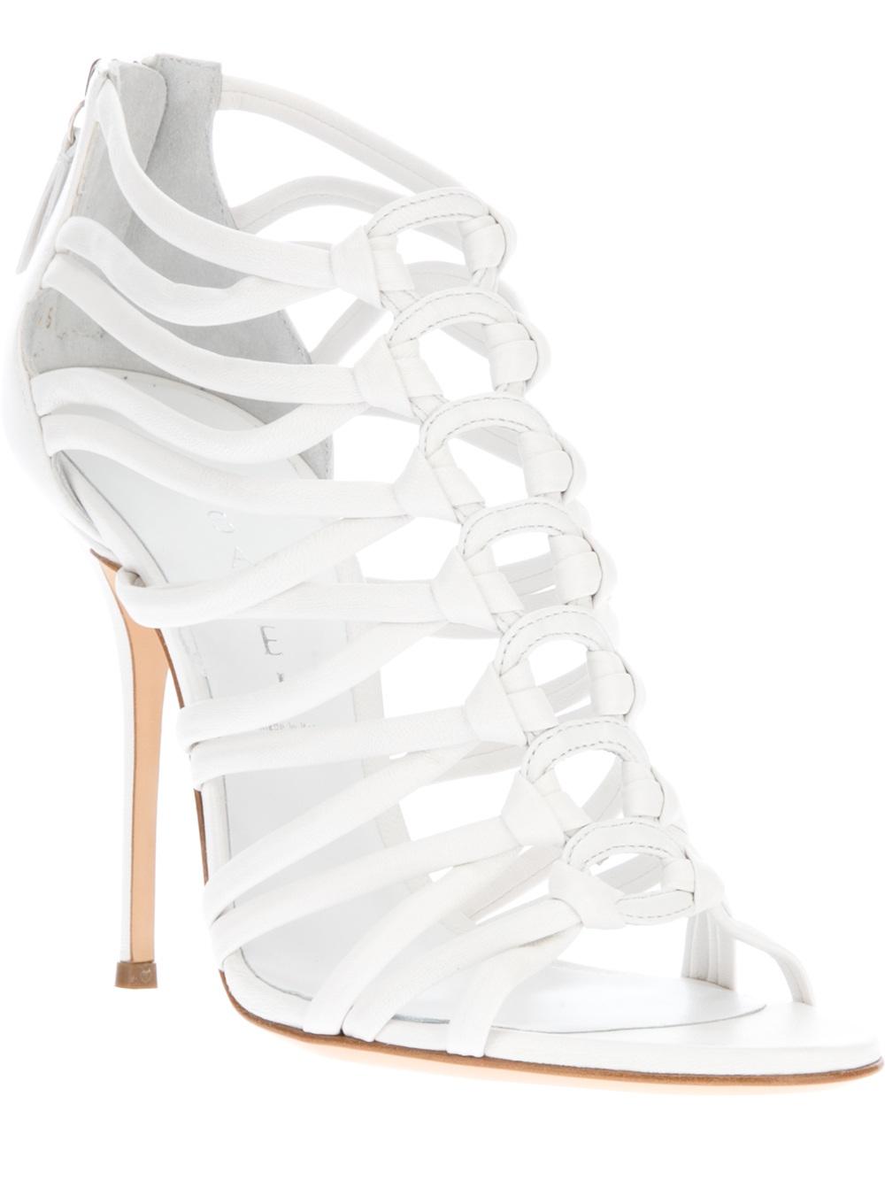 Casadei Strappy Stiletto Sandal in White | Lyst