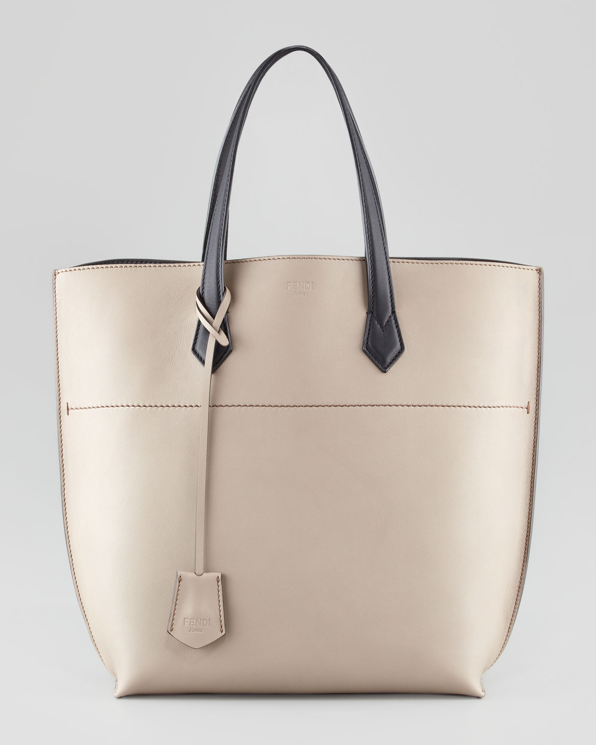 Fendi Leather Shopping Tote Bag in Natural | Lyst