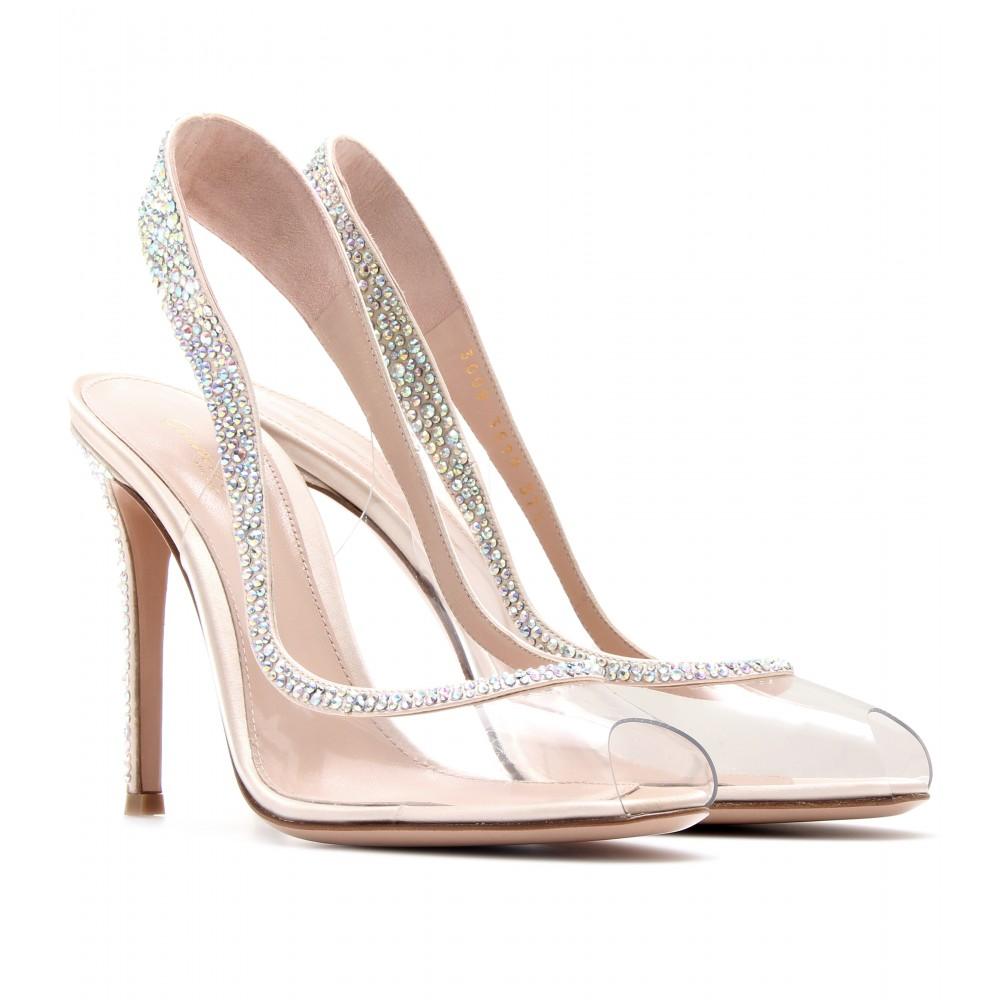 shoes gianvito rossi embellished transparent slingback pumps