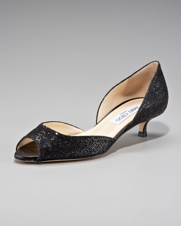 c2d330bd8f8b Lyst - Jimmy Choo Lyon Glittered Kitten Heel Dorsay in Black