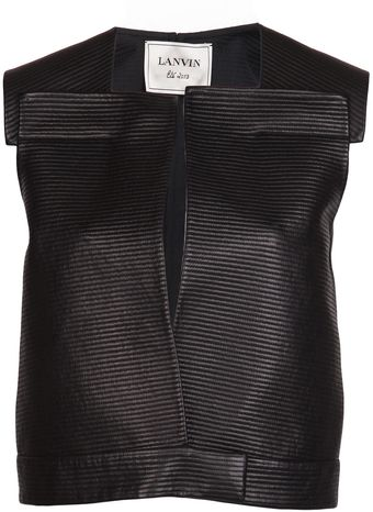 Lanvin Ribbed Leather Vest - Lyst