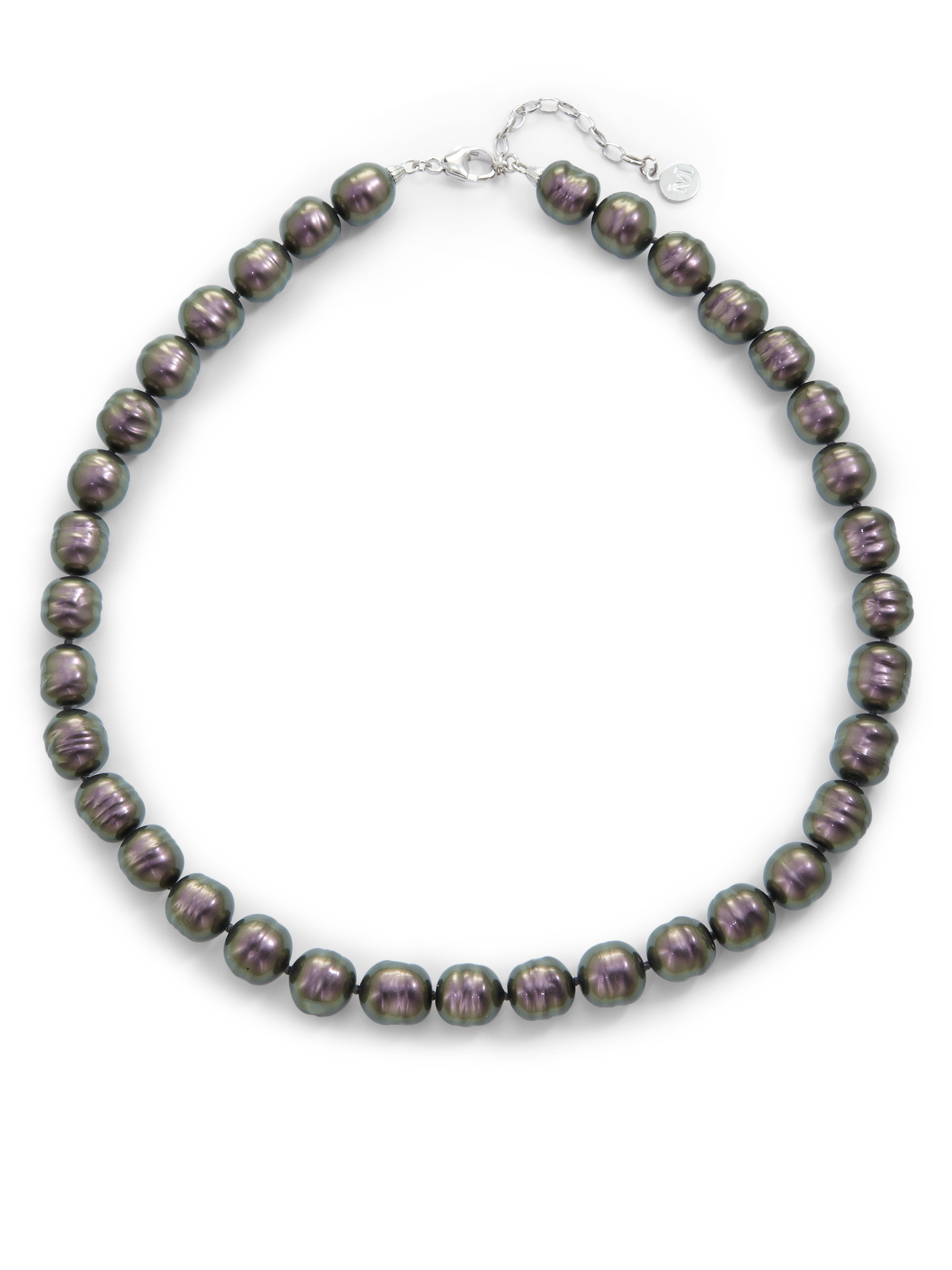 Majorica 12mm Tahitian Baroque Pearl Necklace In Silver