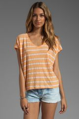Michael Stars Short Sleeve Striped Scoop Neck Tee in Creamsicle - Lyst