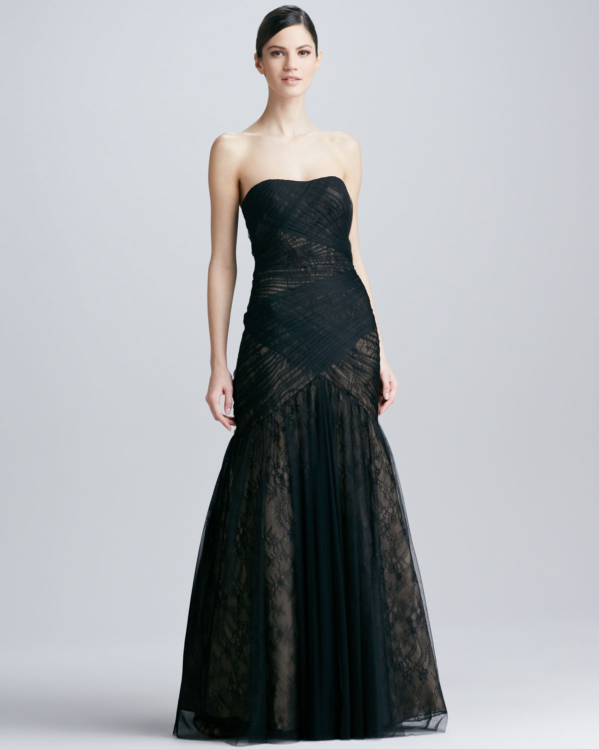 Lyst - Ml Monique Lhuillier Strapless Lace Tulle Gown in Black