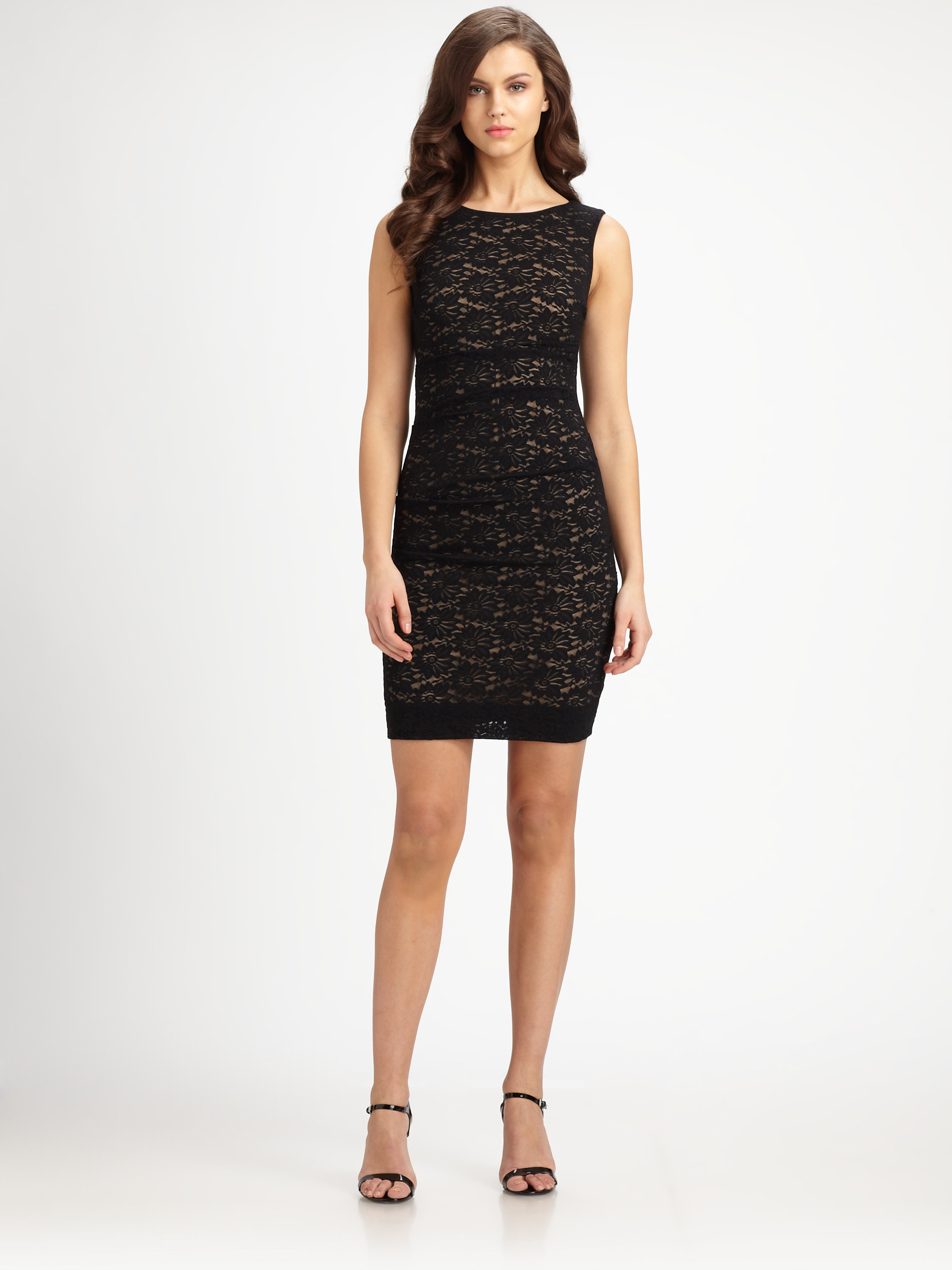 Nicole miller Gathered Lace Dress in Brown  Lyst
