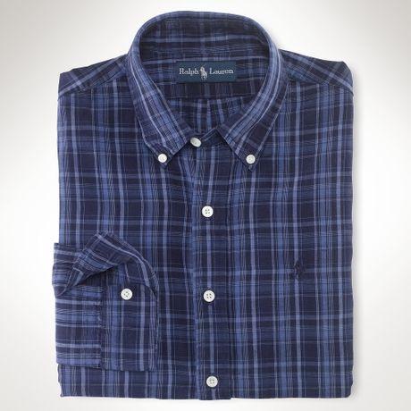 Polo ralph lauren customfit plaid shirt in blue for men for Navy blue plaid shirt