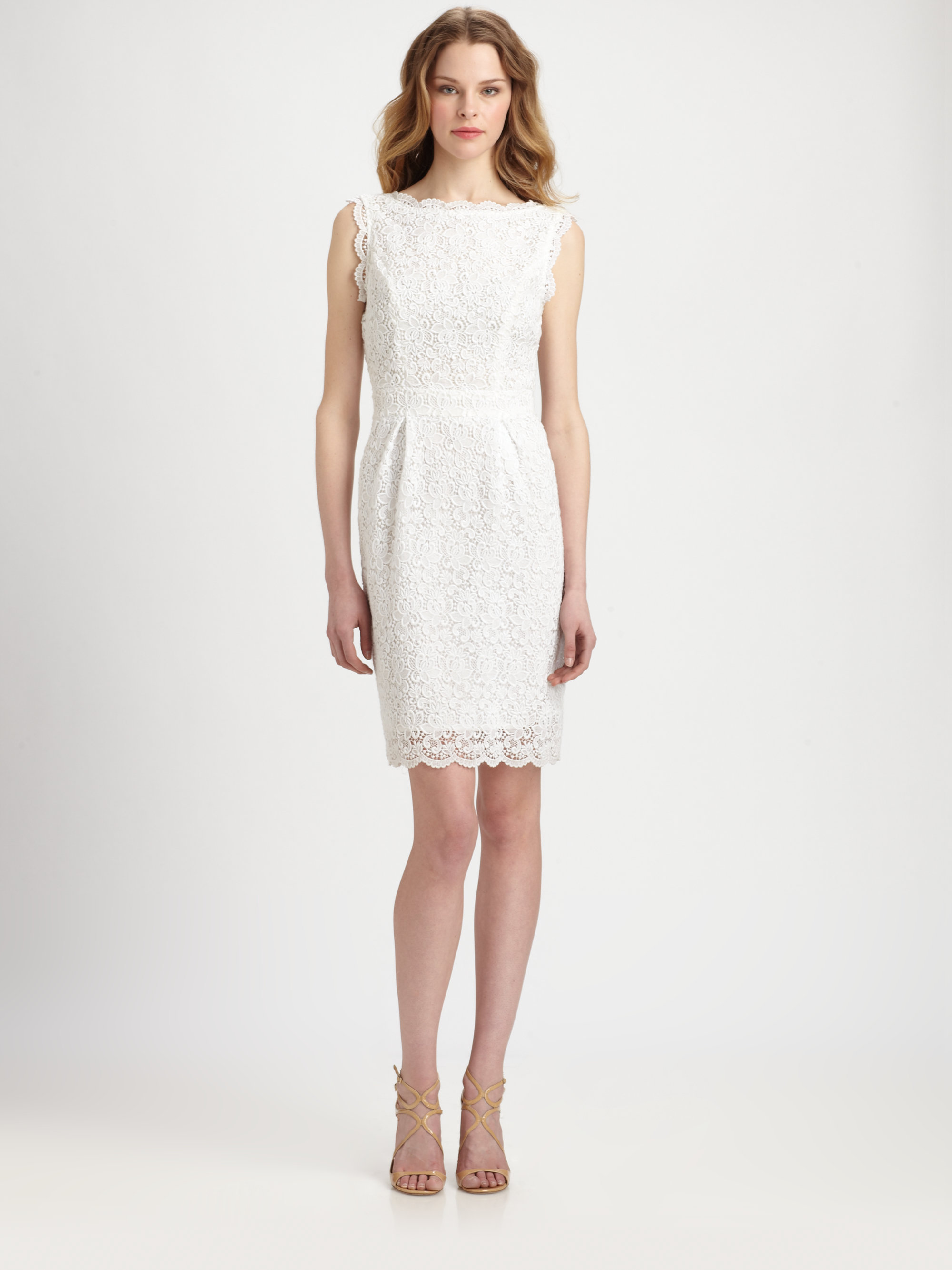 Shoshanna Nyla Cotton Lace Sheath Dress in White | Lyst