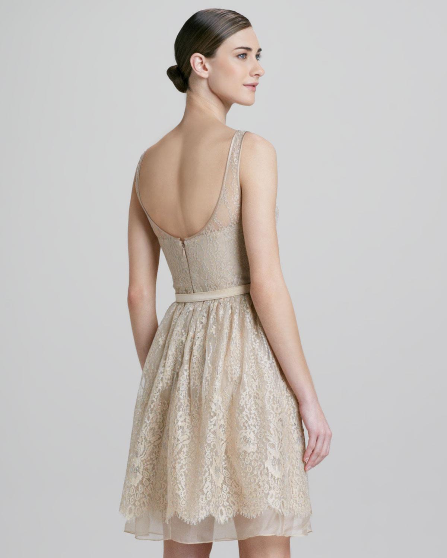 Theia metallic lace illusion party dress