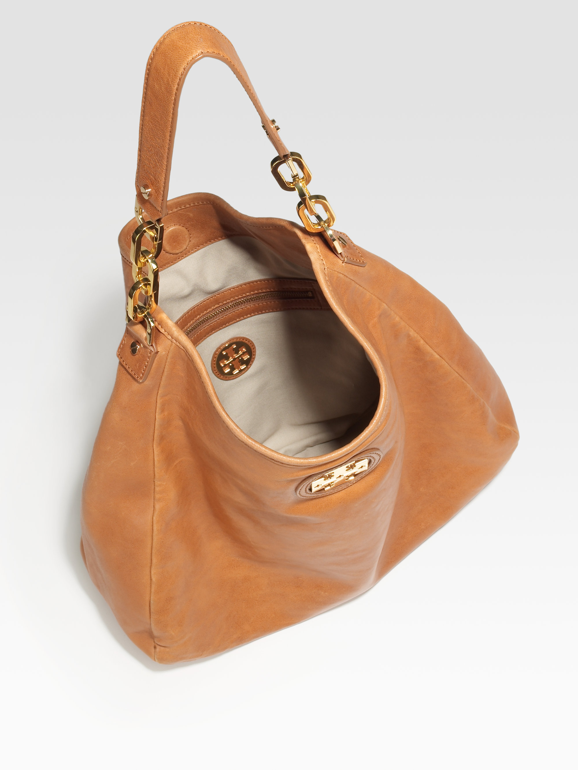Tory burch City Hobo Bag in Brown | Lyst