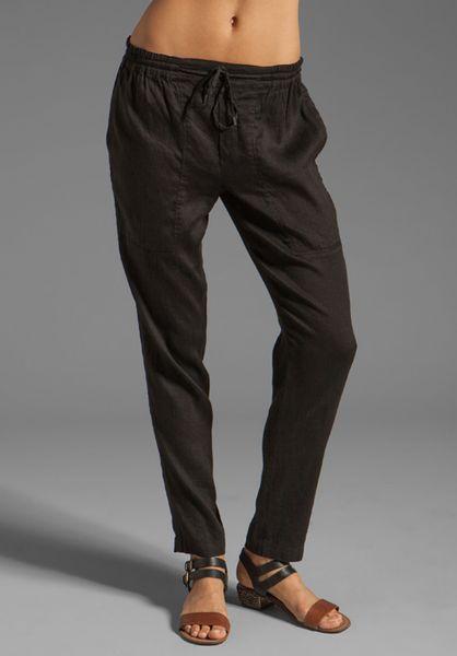 Vince Linen Jogger Pants In Black Lyst