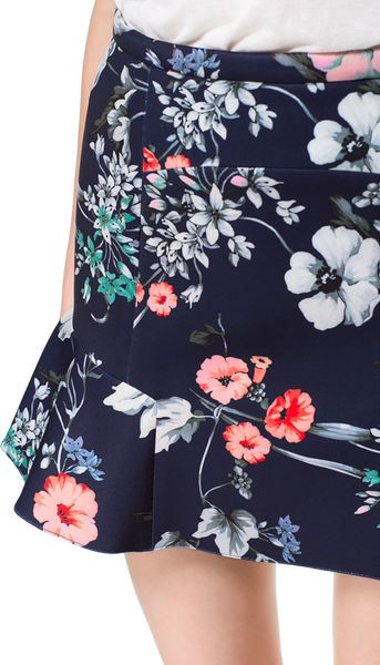 Zara Printed Skirt With Ruffles In Floral Navy Blue Lyst