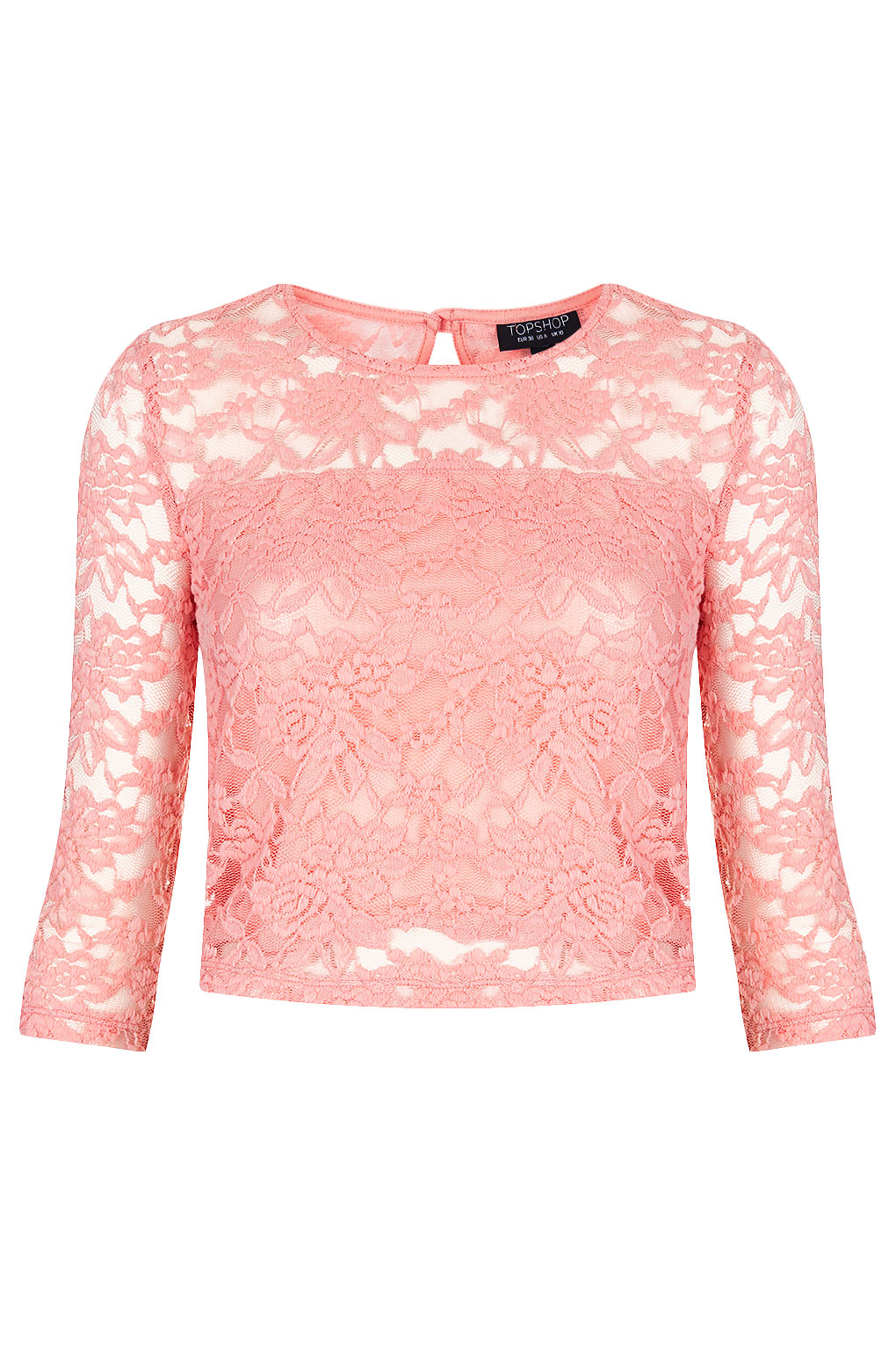 Topshop Sleeve Floral Lace Top in Pink | Lyst