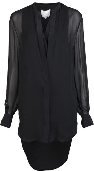 3.1 Phillip Lim Long Sleeve Silk Dress - Lyst