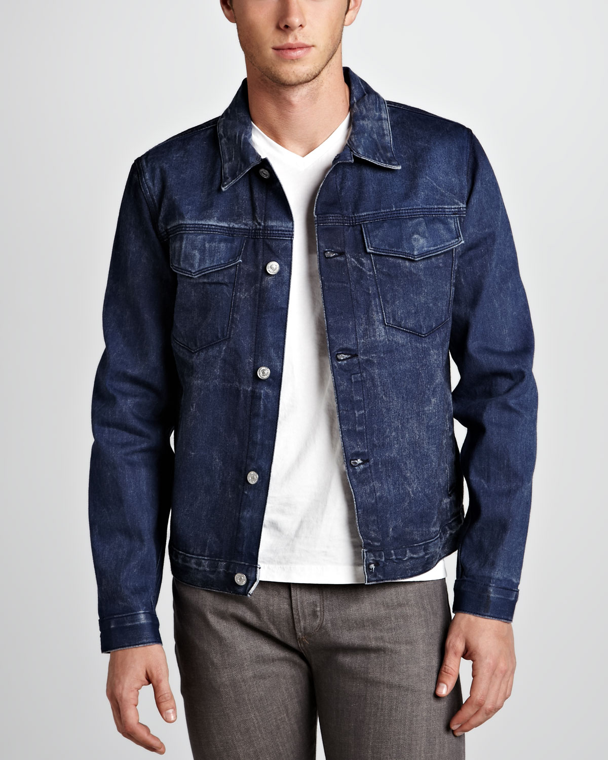 Navy Blue Denim Jacket - JacketIn