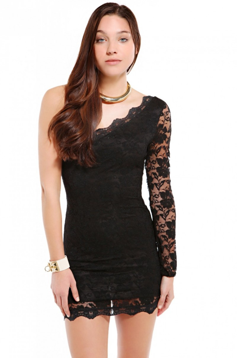Long black lace dress with one sleeve