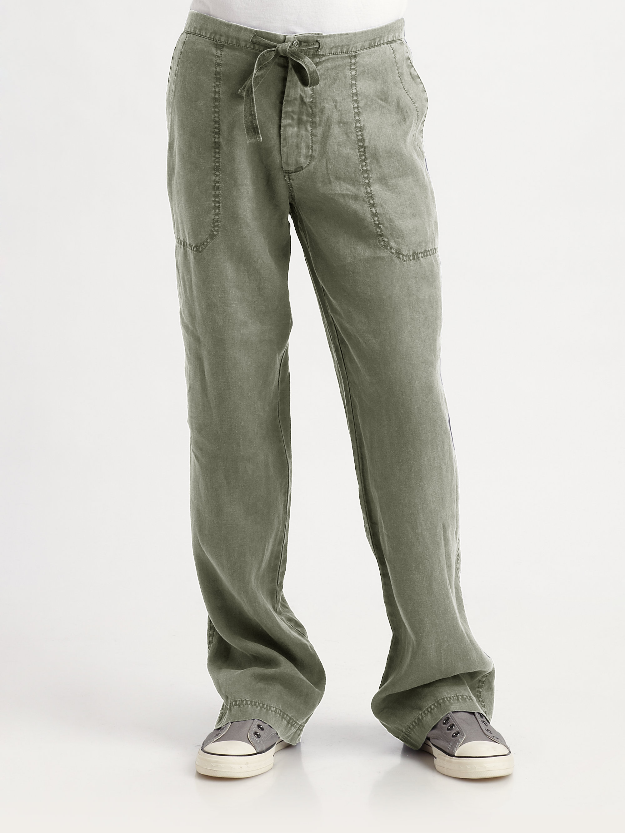 American essentials Linen Drawstring Pants in Green for Men | Lyst