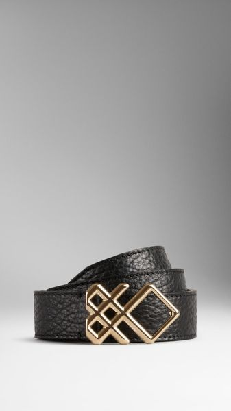 Burberry Leather Check Buckle Belt - Lyst
