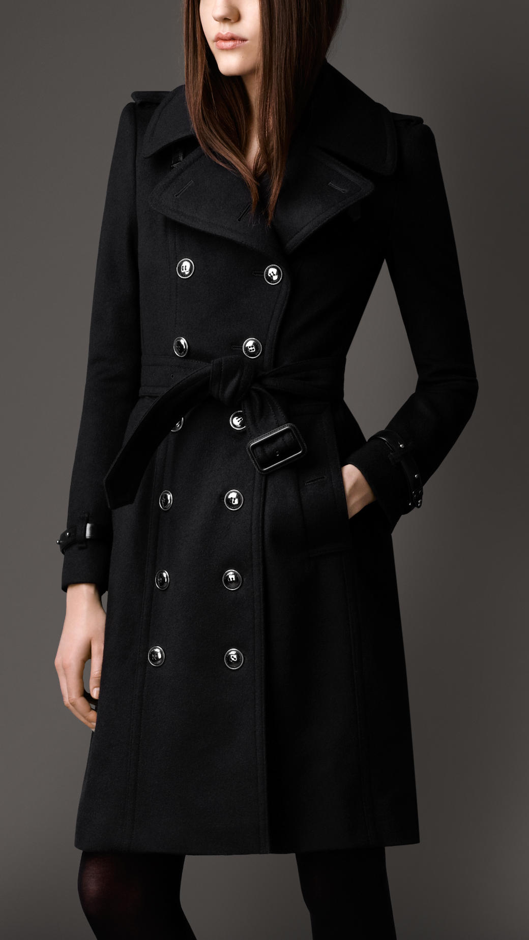 Burberry Long Wool Cashmere Regimental Trench Coat In