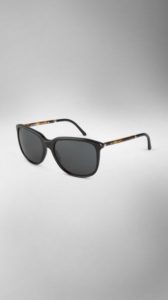 Burberry Tortoiseshell Arm Square Frame Sunglasses - Lyst