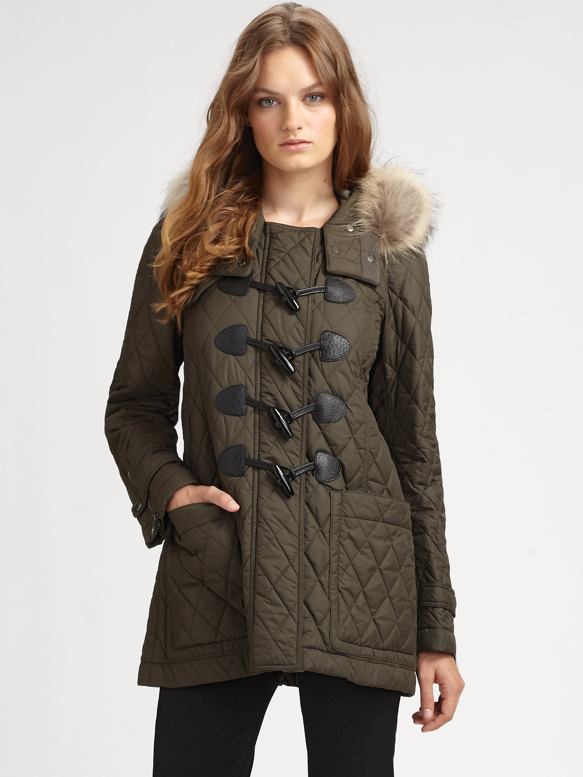 Burberry brit Fur-trimmed Quilted Duffle Coat in Brown | Lyst